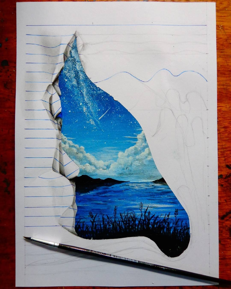 15-The-Lake-and-the-Stars-wip-João-A-Carvalho-Drawing-and-Painting-3D-Optical-Illusions-see-the-Video-www-designstack-co