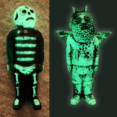 Glow in the Dark Edition Bones & Lucky Vinyl Figures by Mike Egan
