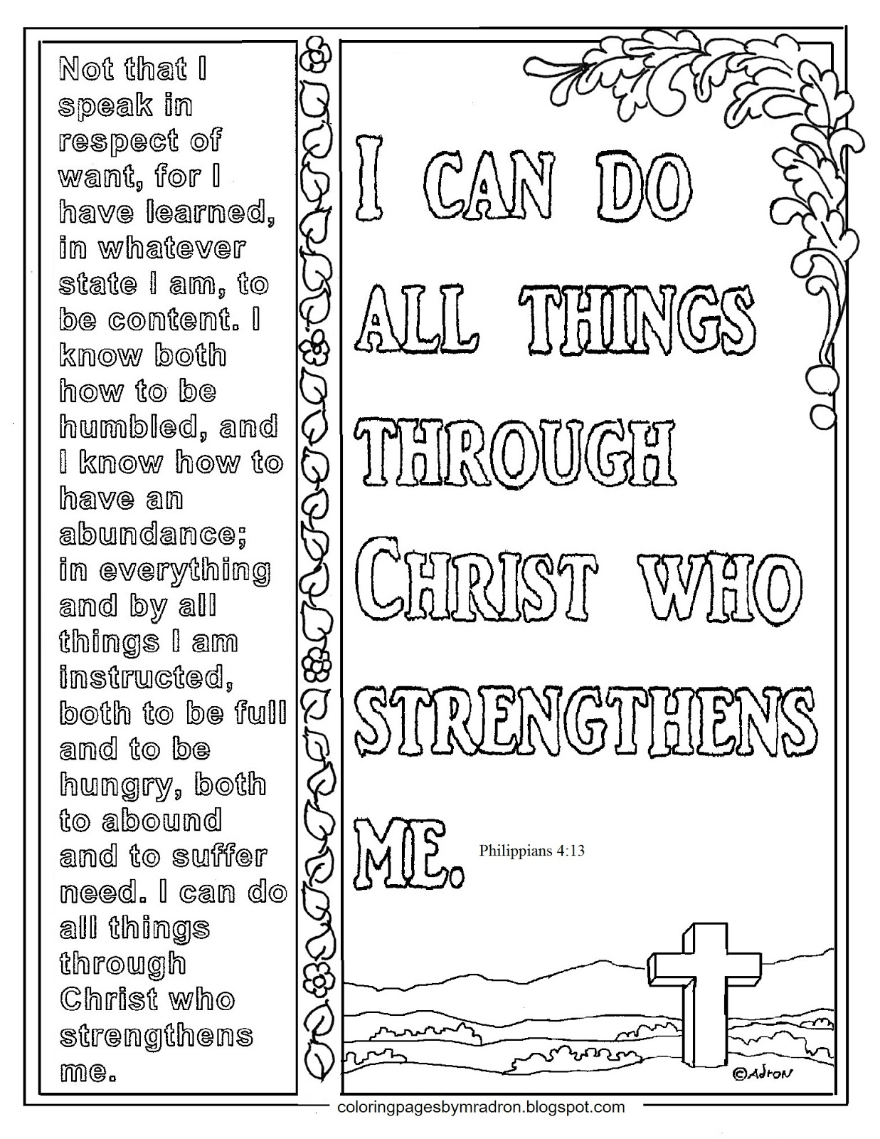 Coloring Pages for Kids by Mr. Adron: Philippians 4:13 ...