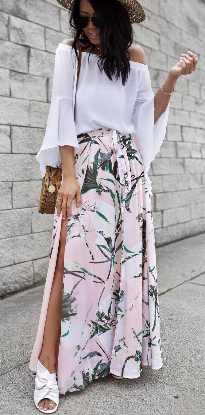 beautiful outfit: hat + blouse + maxi skirt