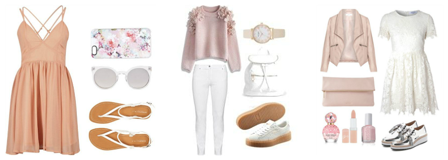 pink blush tones and white accessories for pretty and girly easter outfit ideas