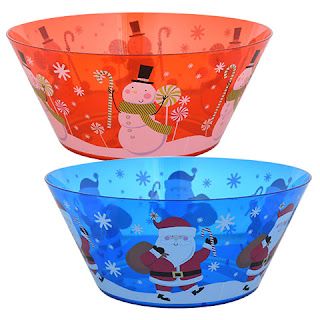 Plastic Printed Christmas Serving Bowls
