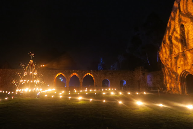 Christmas at Beaulieu Fire Garden abbey grounds