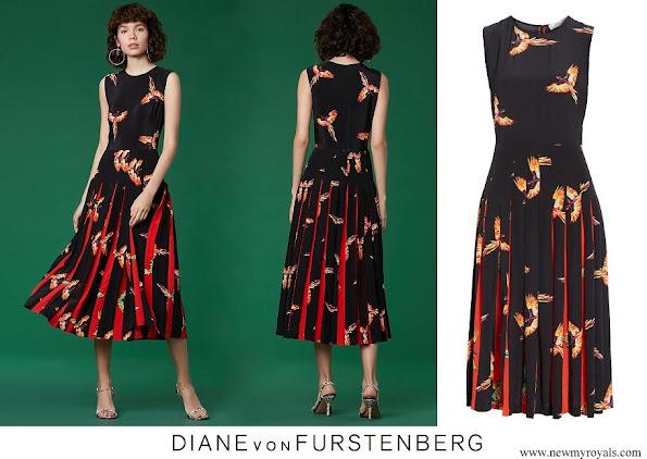 Queen Mathilde wore Diane Von Furstenberg talita aurora print silk dress womens black multi