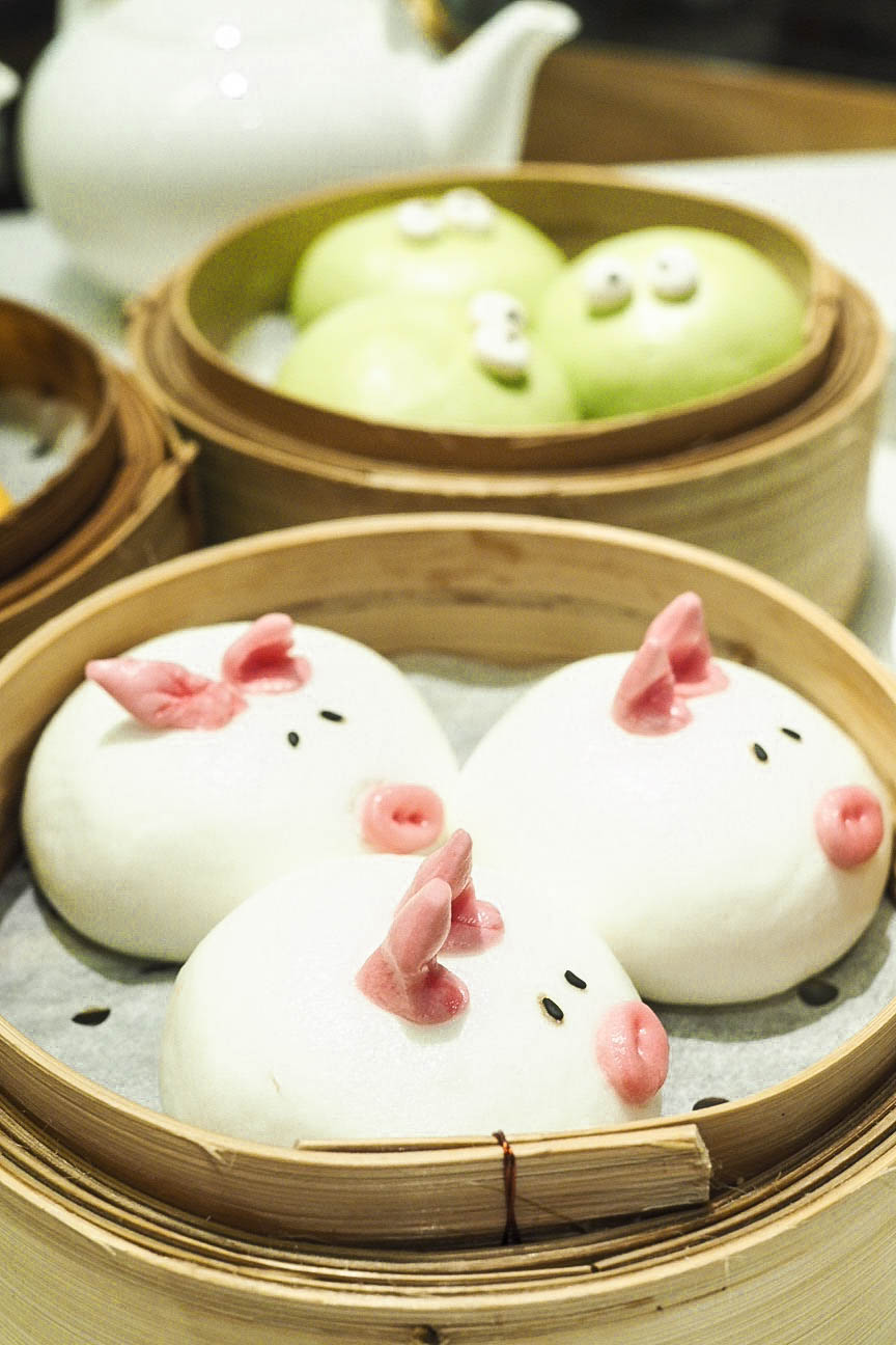 Pig shaped char siu bun