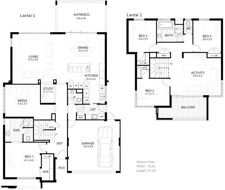 Contoh Denah Rumah Minimalis 2 Lantai Modern 3 Kamar Tidur