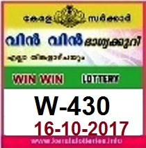 Win Win Lottery W-430 Kerala Lottery Results- 16.10.2017