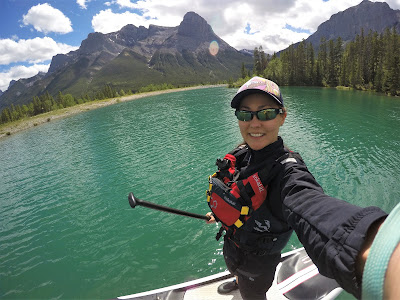 Stand up paddle boarding at Canmore Reservoir