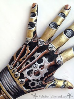 steampunk special fx makeup for body. diy tutorial on how to create this metal gear robot hand.