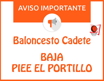 BALONCESTO CADETE: Baja Piee El Portillo