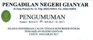 Lowongan Kerja Non PNS Pengadilan Negeri Gianyar Tingkat SMA Tahun 2017