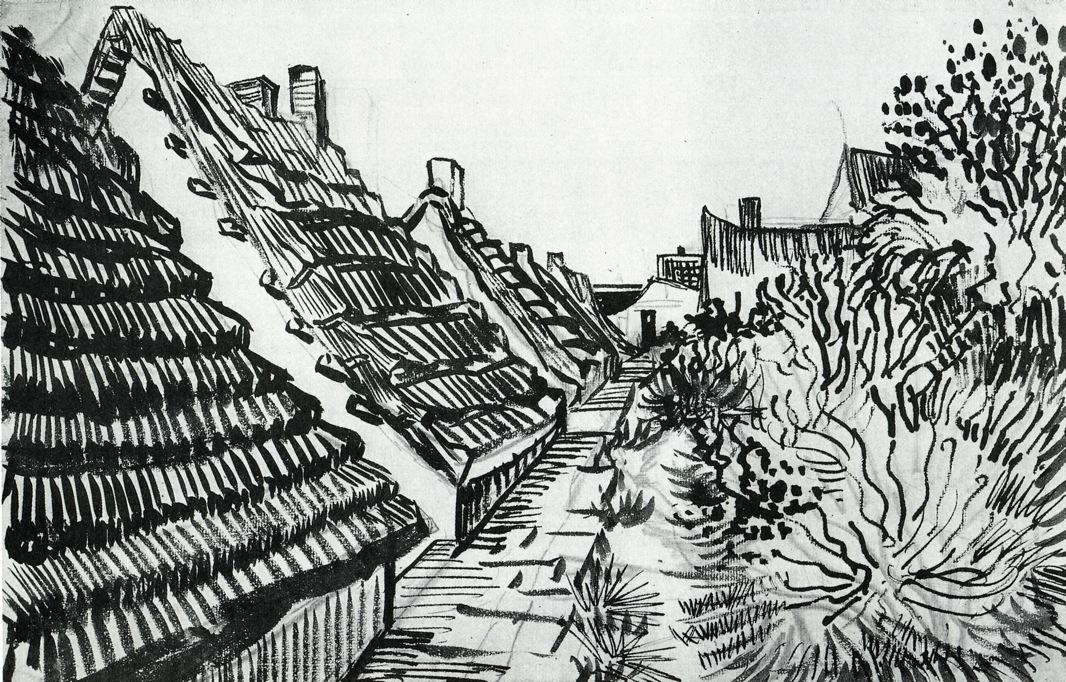 1888 street in saintes maries pen and ink 30 5 x 47 cm