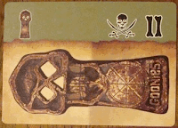 This is the same card as the previous image, but now it is turned ninety degrees to the left, so that the large skull key on the parchment background is on the bottom of the card, and the green section with the small skull key, the skull-and-crossed-swords symbol and the Roman numeral two are in the upright position along the top of the card.
