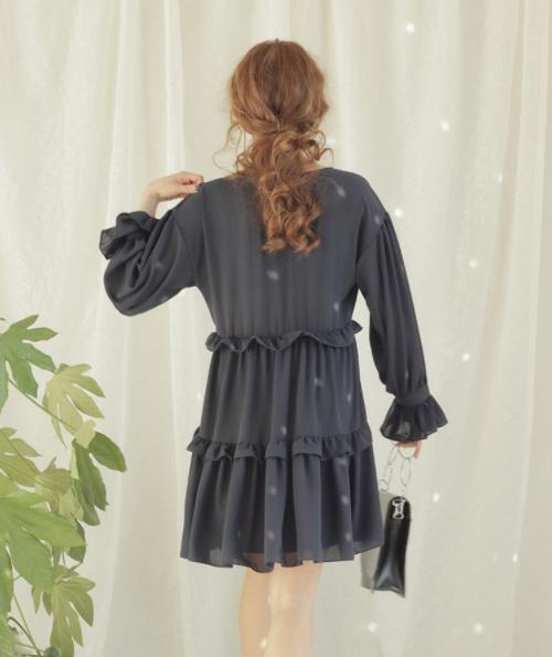 Surplice Neck Frill Trim Dress