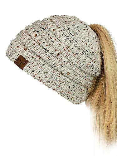 fbbc0174f97dd3 C.C BeanieTail Soft Stretch Cable Knit Messy High Bun Ponytail Beanie Hat,  Confetti Oatmeal 2019