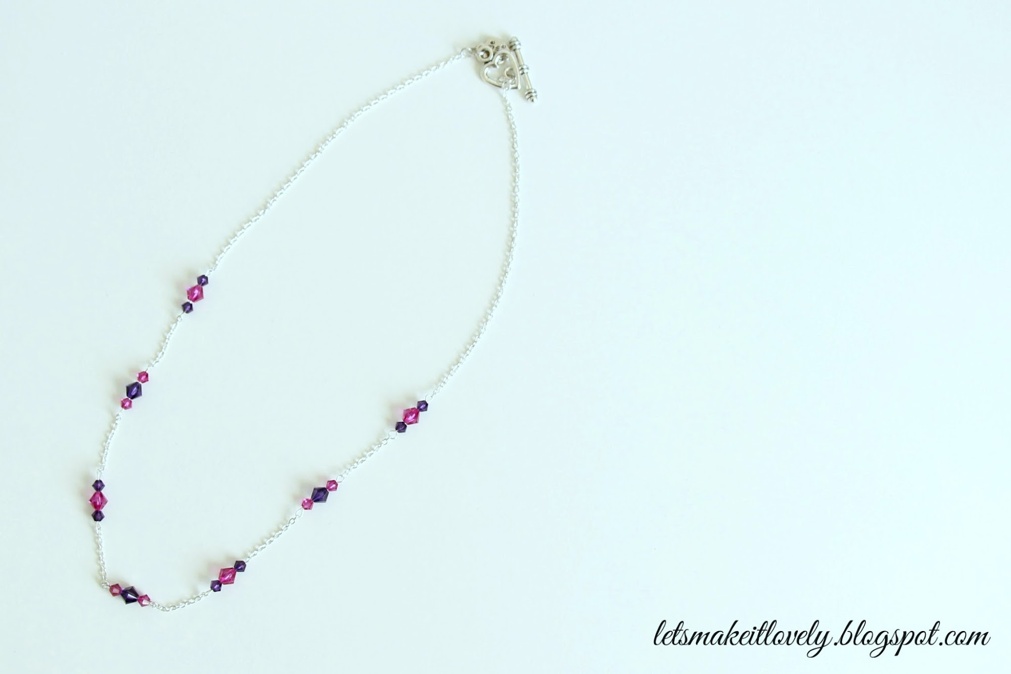 DIY simple swarovski bead necklace. Beginners jewelry making.