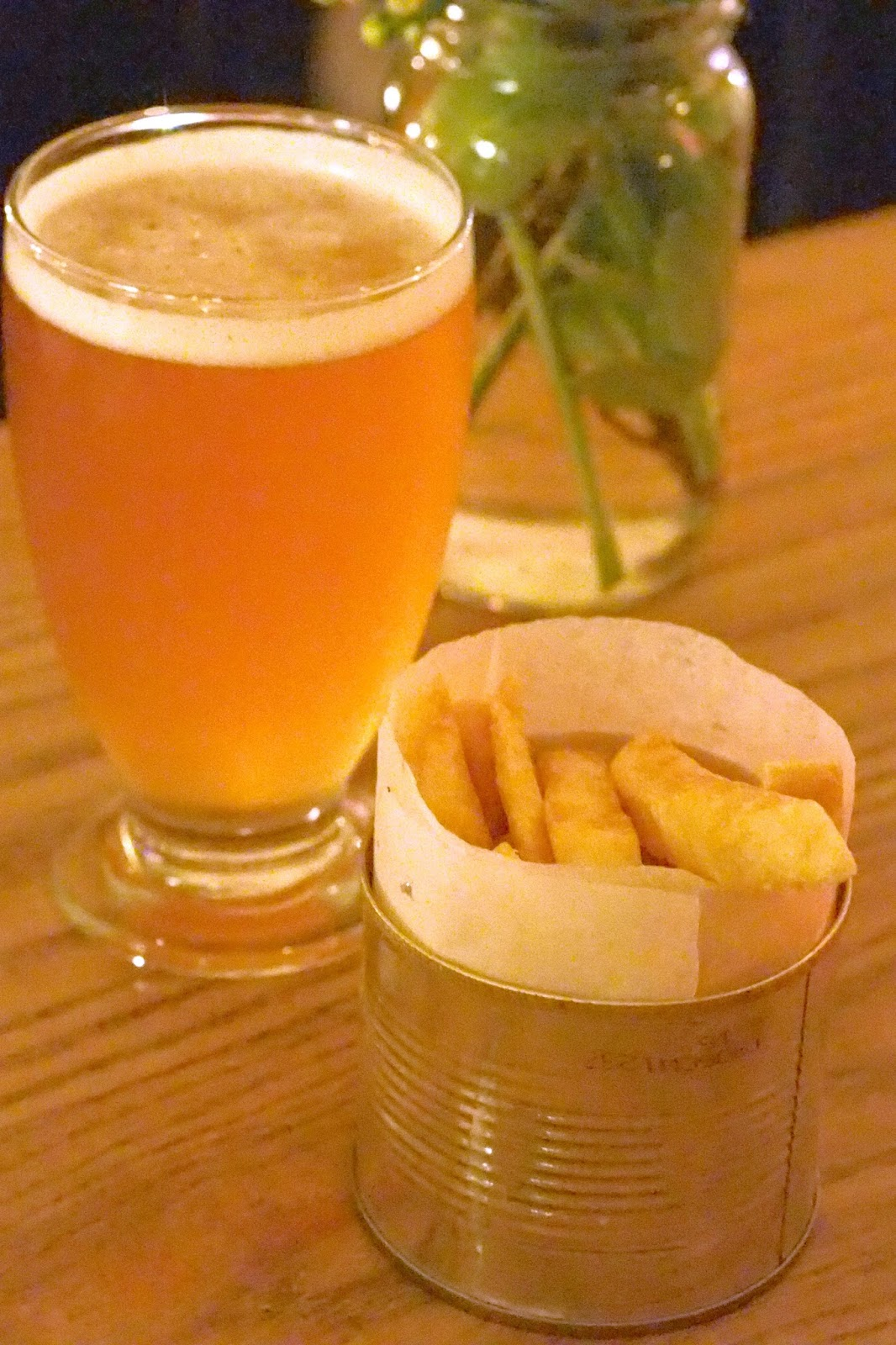 pint of beer with portion of fries
