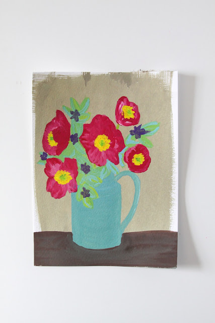 gouache painting, turquoise pitcher, red poppies, Anne Butera, My Giant Strawberry
