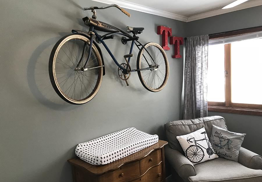 Vintage bike on wall in nursery