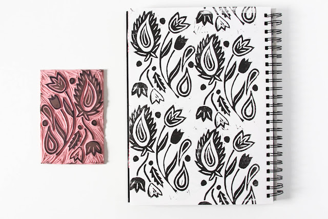 2x2 Sketchbook, #2x2Sketchbook, Anne Butera, Sketchbook, patterns, lino cutting, painting, paisley