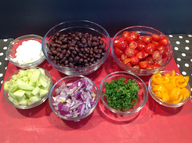 black beans , chopped red onion, cucumber,