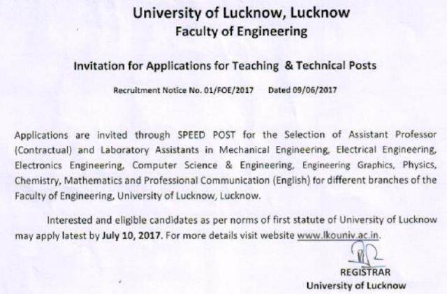 Lucknow University Recruitment 2017 lkouniv.ac.in Application Form