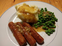 Vegetarian sausages made with chickpeas