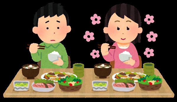 食事中の香水の匂いを嫌がる人のイラスト