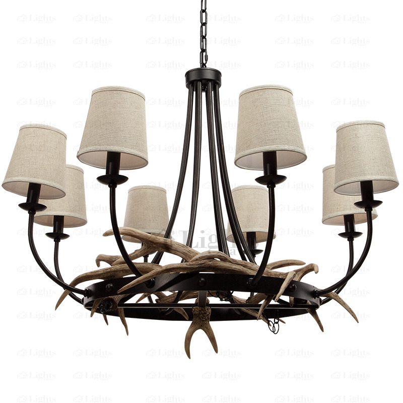 Fabric Shade E12/E14 Bulb Base 8-Light Antler Chandelier