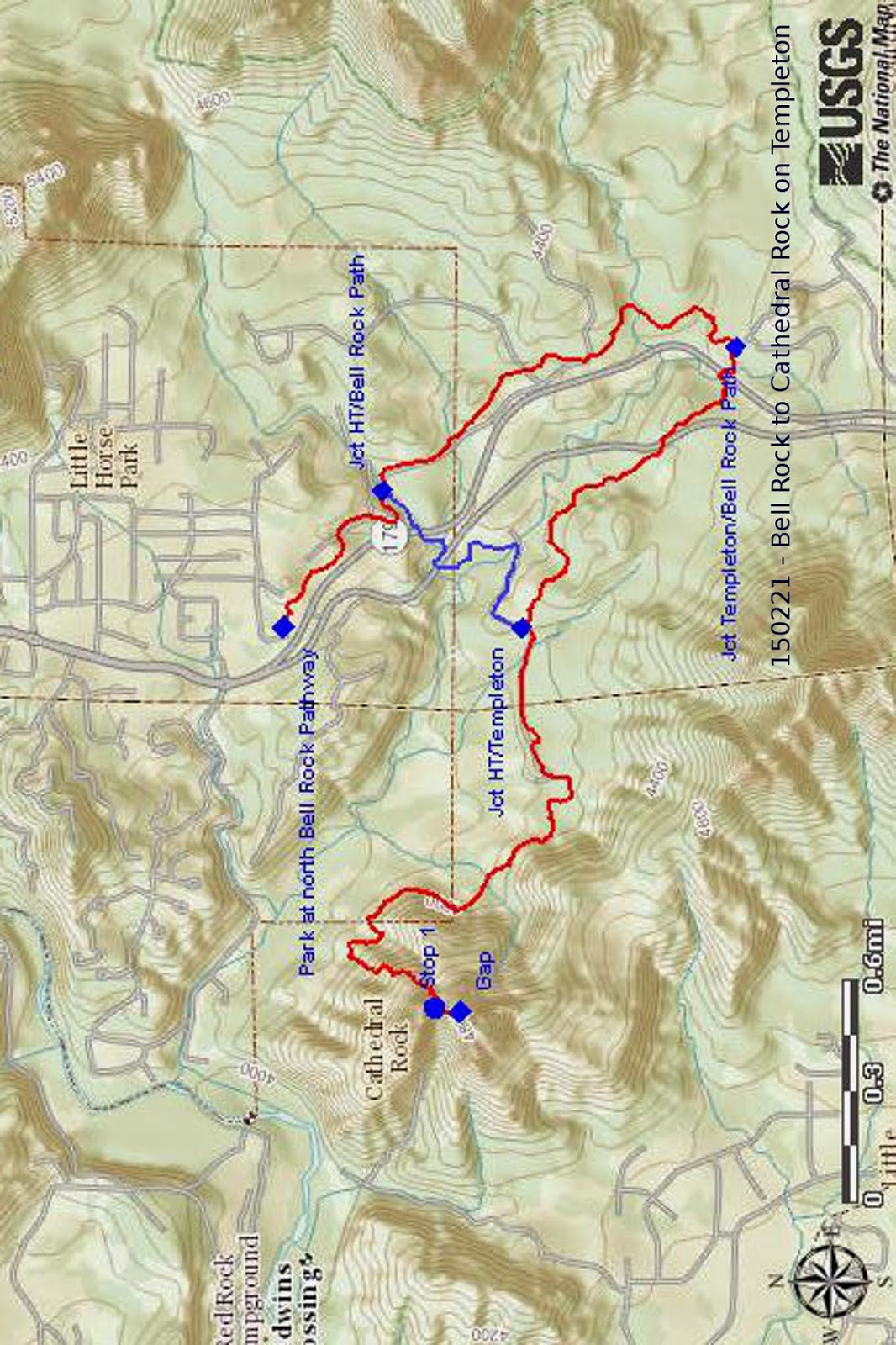 those who returned by way of ht trail hiked a total of 6 8 miles