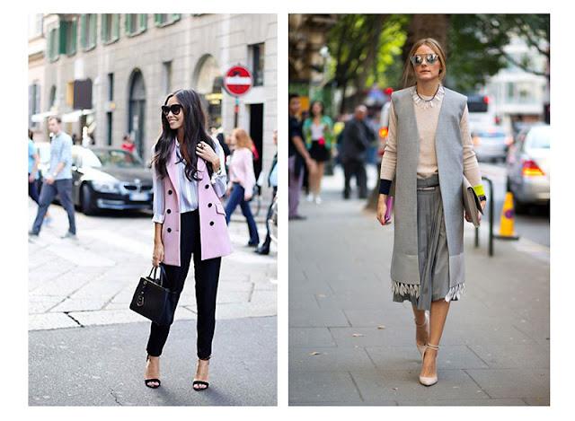 Удлиненный жилет с брюками и юбкой в офисном стиле уличная мода