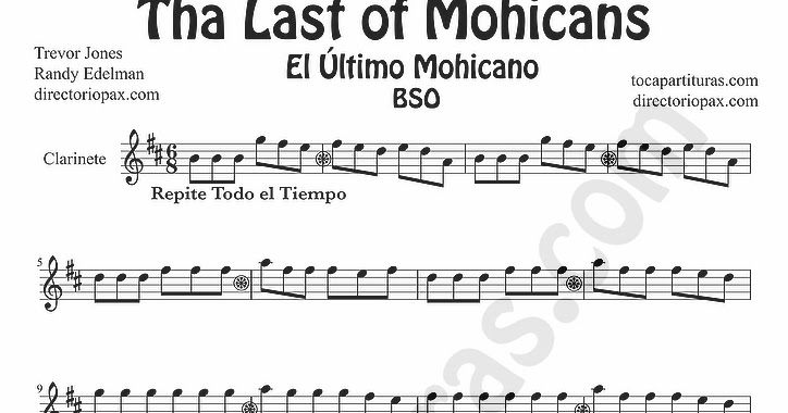 tubescore: The Last of the Mohicans sheet music for clarinet