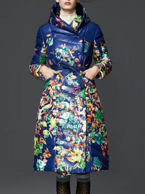 SHOWSEASON Blue Hoodie Long Sleeve Buttoned Floral Coat With Belt