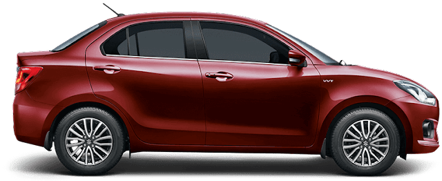 Maruti suzuki Dzire Red colour side pics