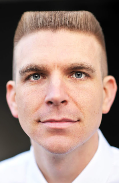 Timothy McGaffin II - Flat Top haircut, close up, headshot, blue eyes,