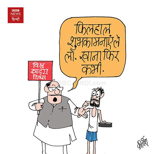 cartoonist kirtish bhatt, indian political cartoonist, cartoons on politics, food, poverty cartoon, world food day
