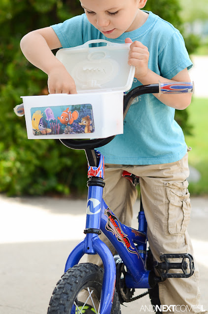 How to make a bike basket for kids out of a plastic wipes container