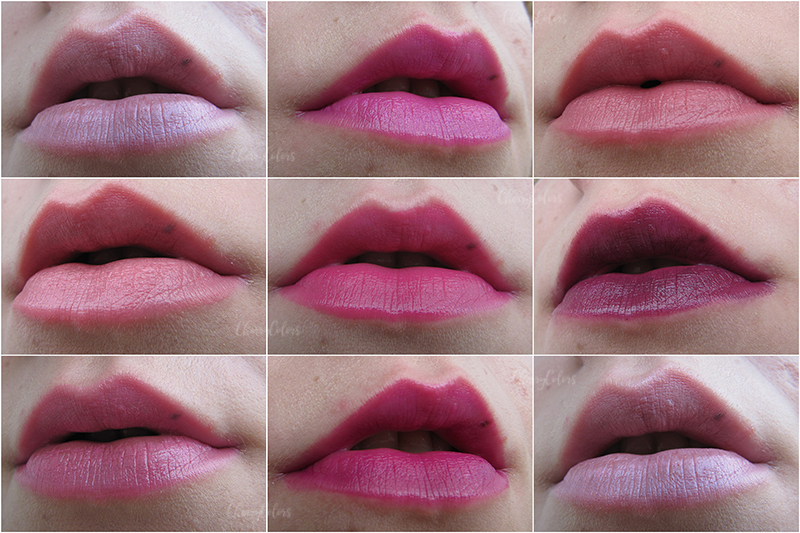 Oriflame Featherlight lipsticks swatch