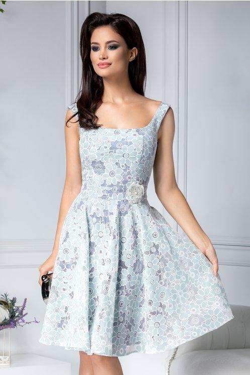 Rochie de nunta fara maneci midi eleganta de vara