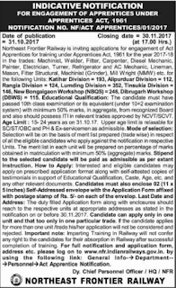 Northeast Frontier Railway Act Apprentices Recruitment Vacancy Notification/ 1142 Govt Jobs 2017