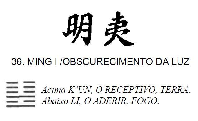 Imagem de 'Ming I / Obscurecimento da Luz' - hexagrama número 36, de 64 que fazem parte do I Ching, o Livro das Mutações