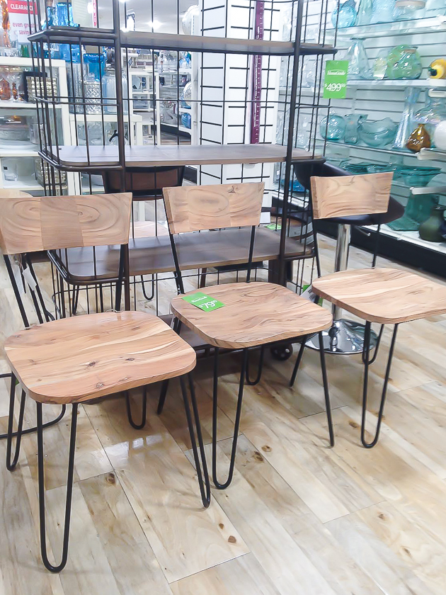 HomeGoods wood and metal dining chairs
