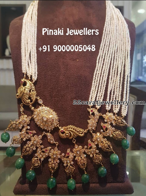 Pearls Peacock Haram by Pinaki Jewellers