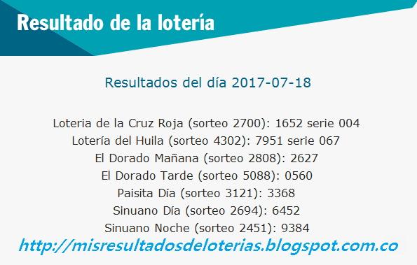 Como jugo la lotería anoche - Resultados diarios de la lotería y el chance - resultados del dia 18-07-2017