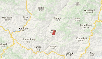 Earthquake epicenter map of Okhaldhunga