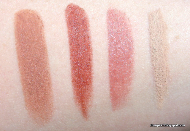 Swatches of Bite Multistick in Blondie, Maybelline Color Sensational Lipstick in Maple Kiss, ModelCo Party Proof Lipstick in Kitty, and Milani Shadow Eyez Pencil in Almond Cream