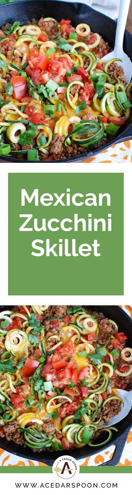 This easy Mexican Zucchini is made in one skillet and is sure to be a family favorite. You will love your favorite taco ingredients mixed with light zucchini noodles creating a low-carb,  #beef #zucchini