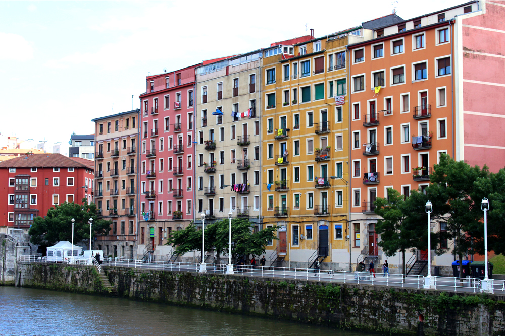 Colourful buildings in Bilbao, Spain - London travel blog