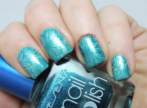 Teal flowers stamping