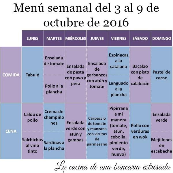 Menú semanal del 3 al 9 de octubre de 2016, y como hacer un menú para saltarselo